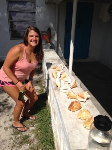 Luda and I checking out some shells that a local named Soul found and gave to us.  Beautiful milk conch