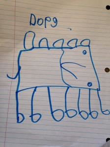 moeisha drew a dog.  Complete with a nose, back lumps and seven legs