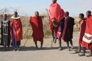 Maasai men jumping during dances to show off their strength