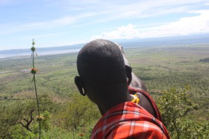 my maasai elder pointing out his boma